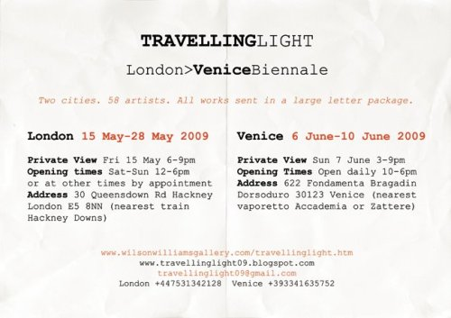 Travelling Light, London>Venice Biennale